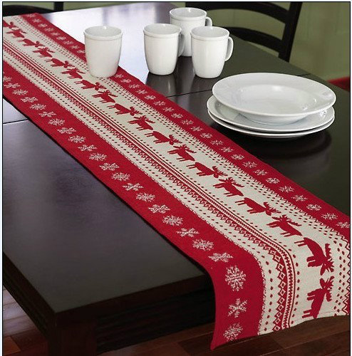 New 2014 Christmas Table Decoration Table Runner Cotton Linen Jacquard  Dining Table Decoration