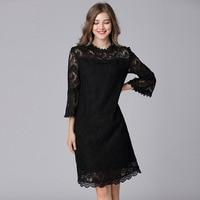 TAOYIZHUAI Dress Female 2018 Spring New Sexy Hollow Lace L 5XL Plus Size Dresses For Women Red Black Lady's Vestidos