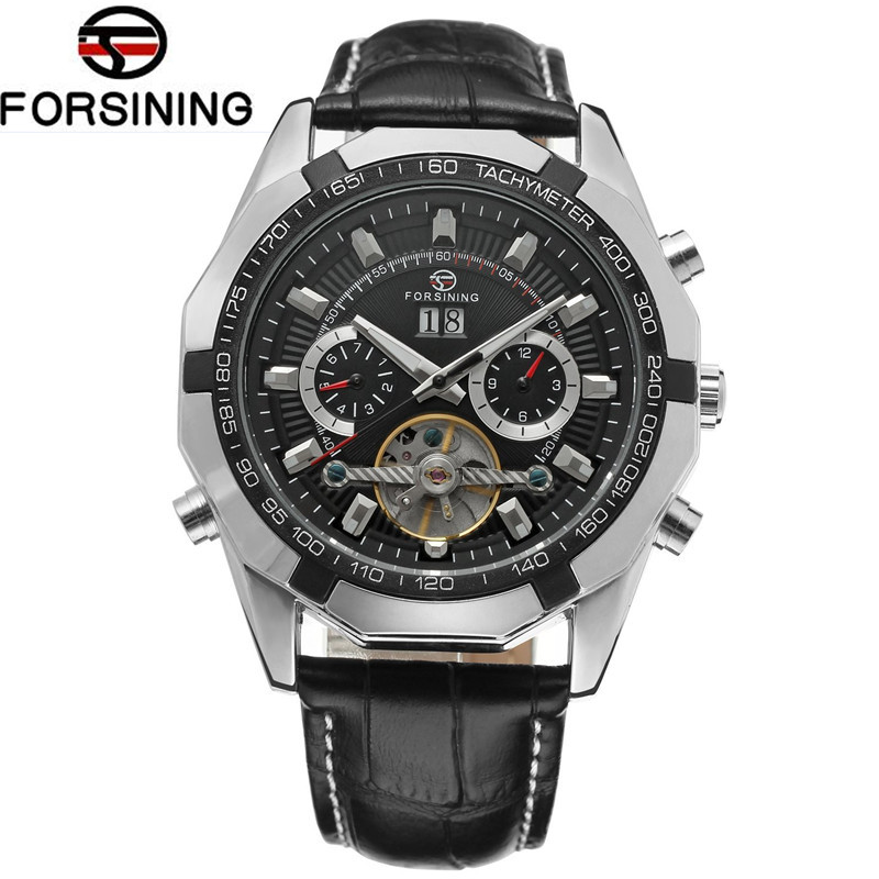 Casual Forsining Men's Montre Homme Mult-function Tourbillion Auto Mechanical PU Leather Watches Wristwatch Gift Box Free Ship fosining luxury montre homme watch men s auto mechanical moonpahse genuine leather strap watches wristwatch free ship