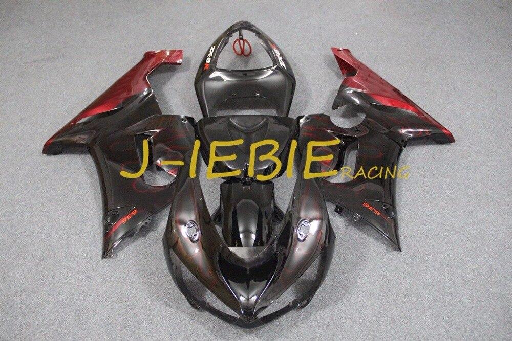 Black red Injection Fairing Body Work Frame Kit for Kawasaki NINJA ZX6R ZX6 ZX 6 R 2005 2006