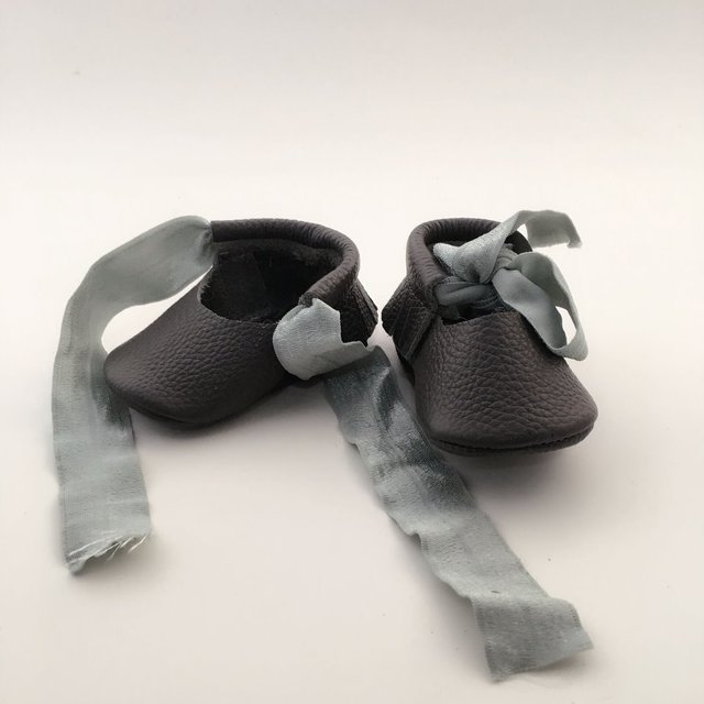 Black Lace up  Geninue Leather Infant Bow Shoes Handmade Baby Shoes