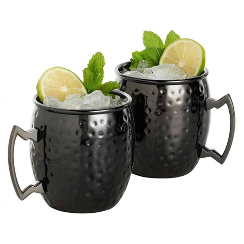 Creative Gunmetal Black Stainless Steel Moscow Mule Mugs Hammered Copper Plated Mug Beer Wine Drinking Water Tea Cup Moscow Mug