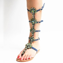 New Arrivals Rhinestone Crystal Flat Clip Toe Bohemia Sandals Plus Size 13 US T-Straps Women Fashion Gladiator Boots