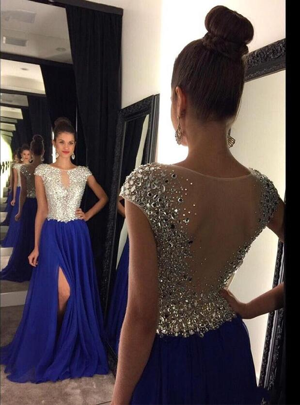 Royal Blue 2019   Prom     Dresses   A-line Cap Sleeves Chiffon Crystals Slit Party Maxys Long   Prom   Gown Evening   Dresses   Robe De Soiree