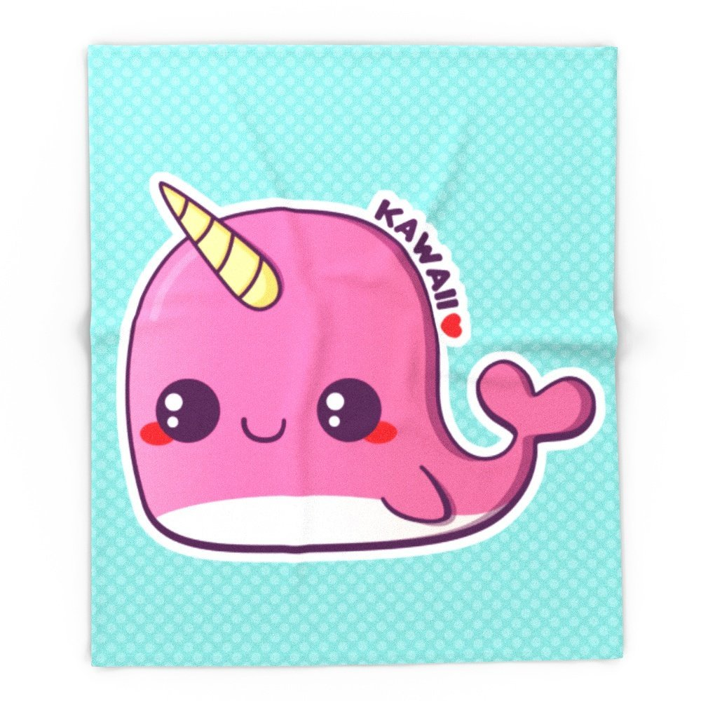 Blanket Custom Kawaii Pink Narwhal Fleece Blanket Sofa/Bed/Plane Travel Plaids Bedding Towel
