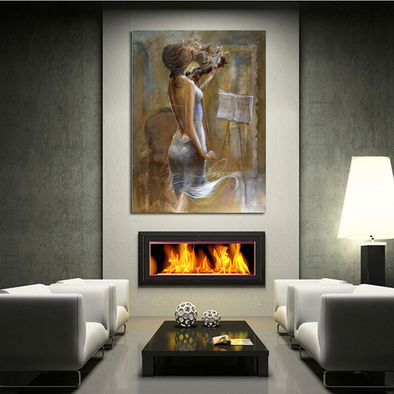 MASTER artwork modern Hand Painted Oil Paintings violin girl musical art picture decorative wall Painting On Canvas unique gift