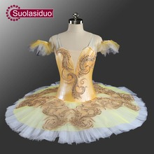 Yellow Professional Ballet Tutu Customized Adult Classical Ballerina Performance Costume SD0070