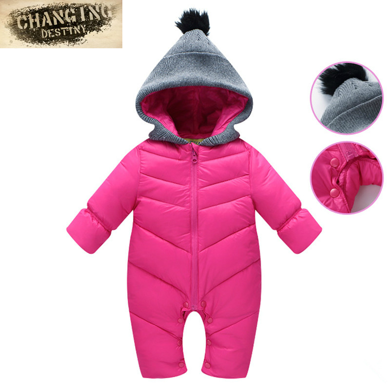 Newborn Baby Rompers Autumn Winter Boy Clothes Jumpsuit Girl Solid Color Rompers Baby Warm Romper Newborn Cotton-padded Jacket kavkas baby hooded rompers fur princess pink winter warm clothes soft cotton padded infant newborn boy girl plush jumpsuit 0 9m