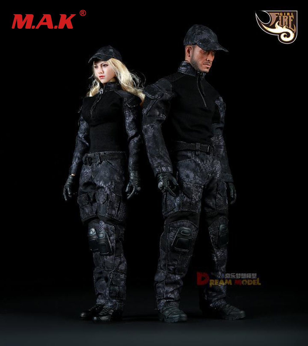 1/6 Female/Male Black Python Camouflage Uniforms Clothing Suits for 12 inches Figure Accessory new sexy vs045 1 6 black and white striped sweather stockings shoes clothing set for 12 female bodys dolls