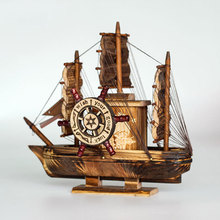 Имитация пиратский корабль деревянная музыкальная Парусная музыкальная шкатулка креативное украшение для дома черная Лодка Деревянные Ремесла детский подарок на день рождения