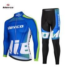 Erkekler uzun kollu bisiklet giyim Jersey seti bisiklet Maillot spor üniforma MTB bisiklet giysileri sıkı ceket erkekler döngüsü giyim