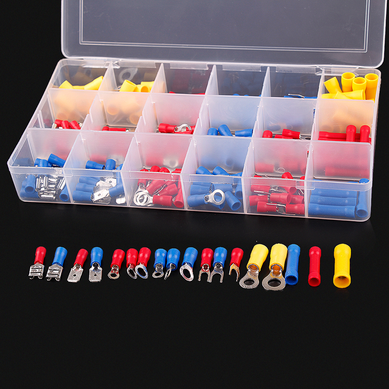 175PCS Crimp Terminals Yellow Red Blue Set Assortment Electrical  Insulated Wiring Connectors Kits pro skit pm 912 insulated combination pliers red yellow 175mm