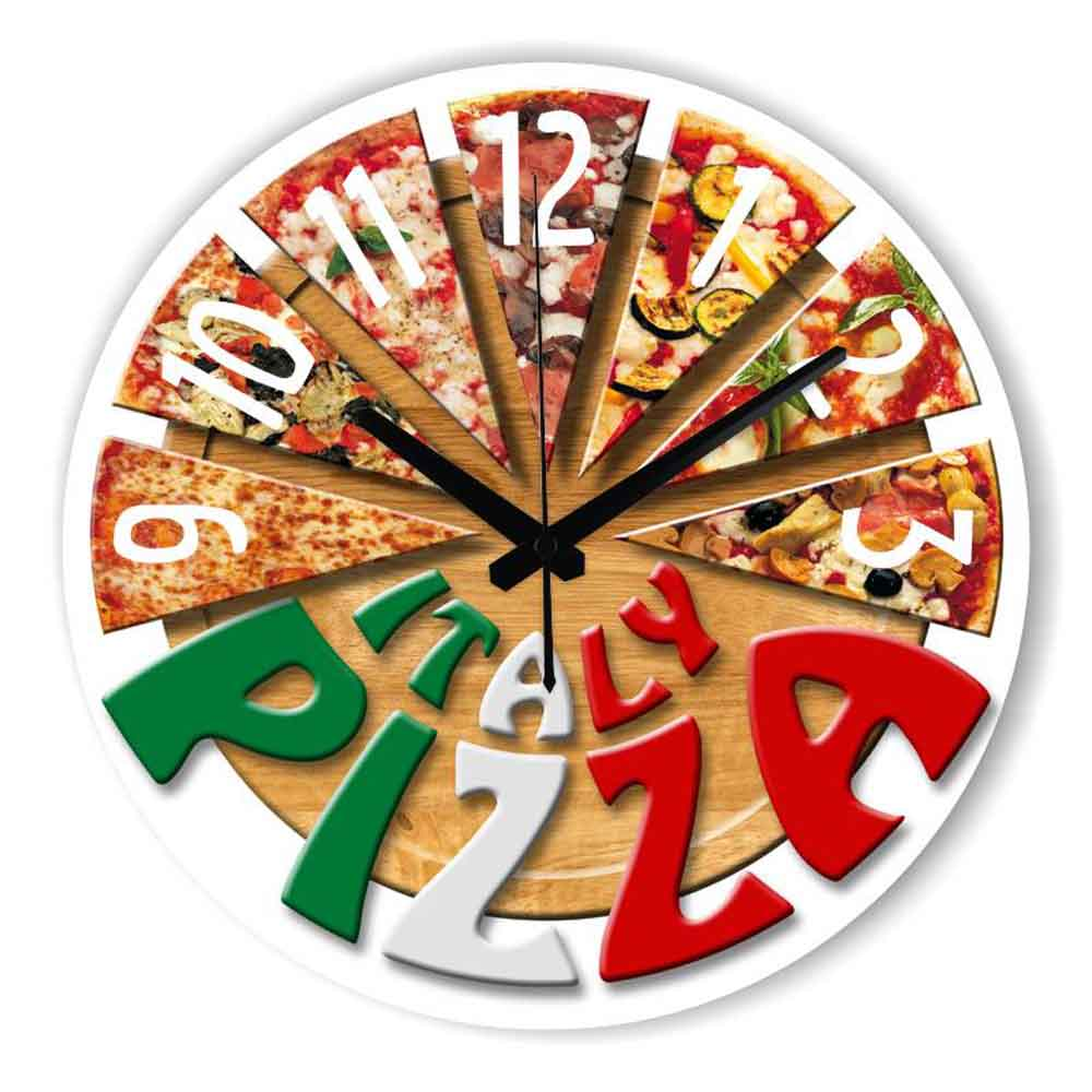 Fashion pizza kitchen decorative wall clock with for Dining hall wall decoration