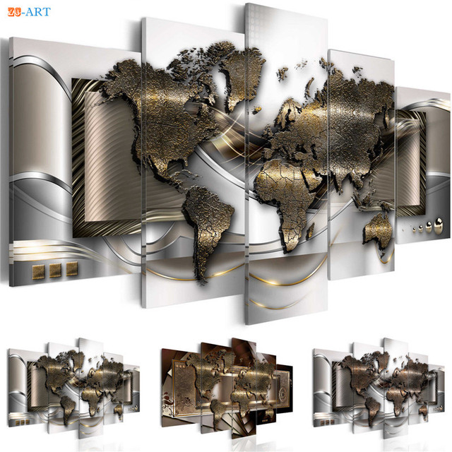 World Map Prints Poster Wall Painting 5 Pieces Modern Matallic Abstract Canvas Art Modular Pictures
