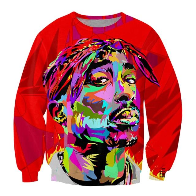 Alisister New Fashion 3d Character Sweatshirts Printed Tupac Shakur 2Pac Sweatshirt Men/women Harajuku Hoodies Colegial Clothing