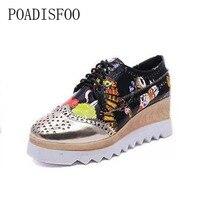 POADISFOO Women S Wedge Casual Shoes Spring Lace Up Color Blocking Graffiti Platform Shoes Women S