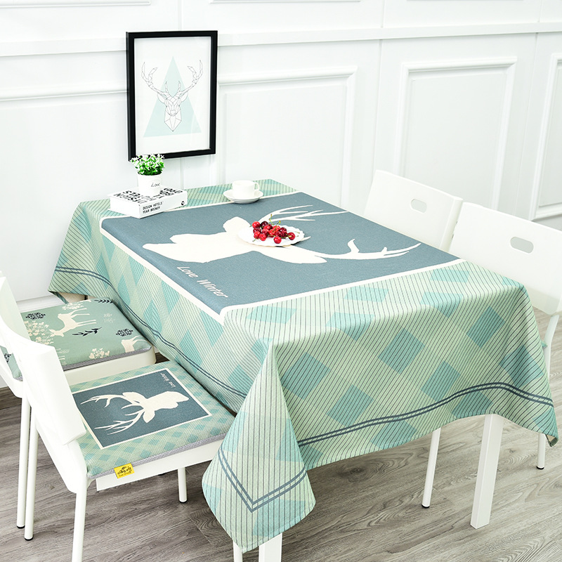 Nordic deer plus thick cotton and linen restaurant table cloth rectangular coffee table cloth