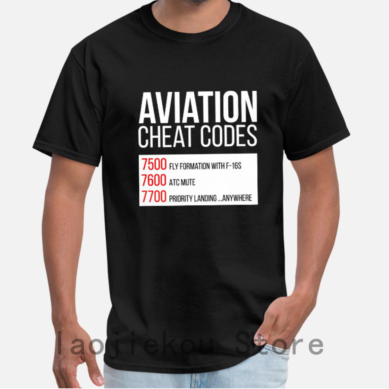 2019 Summer Funny Print Men T Shirt Women Cool T-Shirts Aviation Cheat Codes Tshirt For Pilots Shirts Unisex New Fashion Tshirt