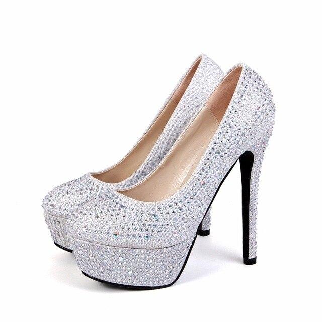1a44d16819f Rhinesto Crystal Sparkly Bridal High Heel Stiletto Wedding Bridesmaid Prom  Shoes diamante party bridal wedding court