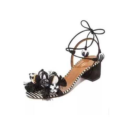 Zapatos Casuales Rebaño Encaje Moda As Cuadrado Decoración Venta Verano Sandalias Mixto Mujeres Medio Picture Bola as Color Caliente Tobillo Las De Picture Franja Tacón 6WHSwqUY