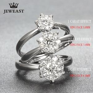 Image 3 - 18K 골드 다이아몬드 반지 여자 여자 애인 커플 선물 자연 대형 다이아몬드 클래식 여섯 발톱 1CT 2CT 캐럿 정품 웨딩 제안