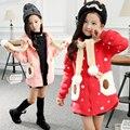 Осень и зима милый мультфильм загущающие девушки толстовка мода принцесса дети свободного покроя молния свитер с капюшоном