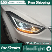 AKD Car Styling For Hyundai Elantra Headlights 2011 2015 LED Headlight DRL Q5 Bi Xenon Lens