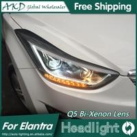 AKD Car Styling For Hyundai Elantra Headlights 2011 2015 LED Headlight DRL Q5 Bi Xenon Lens