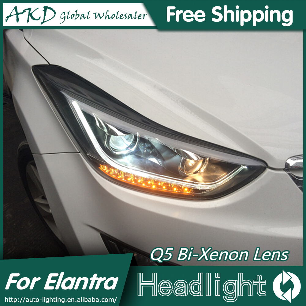 AKD Car Styling for Hyundai Elantra Headlights New Elantra MD LED Headlight DRL Q5 Bi Xenon Lens High Low Beam Parking Fog Lamp akd car styling for nissan teana led headlights 2008 2012 altima led headlight led drl bi xenon lens high low beam parking
