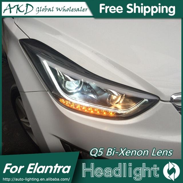 AKD Car Styling for Hyundai Elantra Headlights New Elantra MD LED Headlight DRL Q5 Bi Xenon Lens High Low Beam Parking Fog Lamp