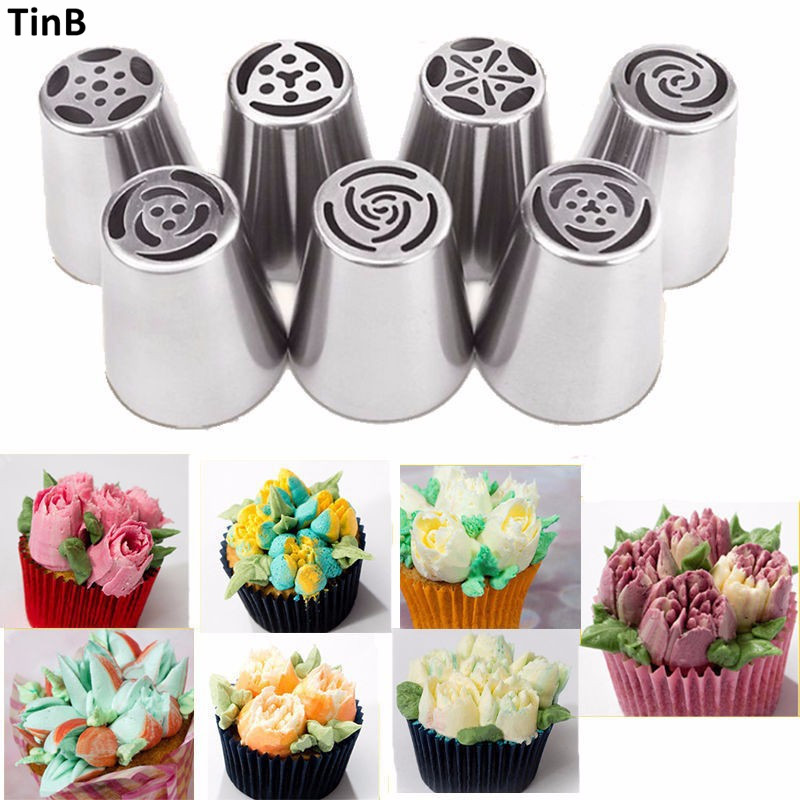 7PCS Russian Piping Tips Cake Pastry Nozzles Cake Decorating Tools DIY Biscuits Cake Pastry Nozzles Tips Cupcake Decorating Tool