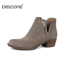 BESCONE Stylish Handmade Slip-On Women Ankle Boots Basic Solid Square Heel Shoes Comfortable 3.5 cm Med Ladies  BY18