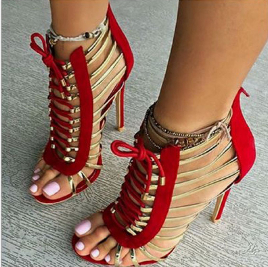 2018 spring and summer, European and American Wind sexy high heel high heel female sandals
