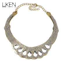 UKENBig Fashion Gold Color Chunky Chain Inlay Rhinestone Crystal Women Chokers Necklace Exaggerated Stage Charm Jewelry