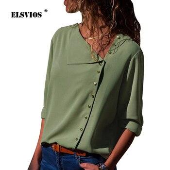 59387465b3e4 ELSVIOS 2018 verano otoño mujeres botón Irregular Blusa casual Skew Collar  blusas elegante camisa de manga larga sólido Blusa S-3XL