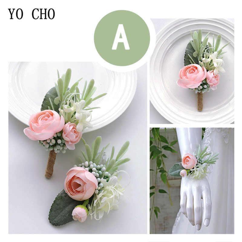 Yo Cho Pengantin Pernikahan Korsase dan Pergelangan Tangan Bunga Suit Kuning Buatan Sutra Rose Pernikahan Korsase Bros Pernikahan Karangan Bunga