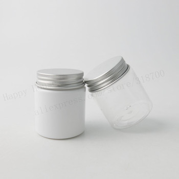 100pcs/lot 50g Clear White PET Cream Jar With Aluminum Lids Transparent PET Seal 50cc Cosmetic Container Opening 37mm