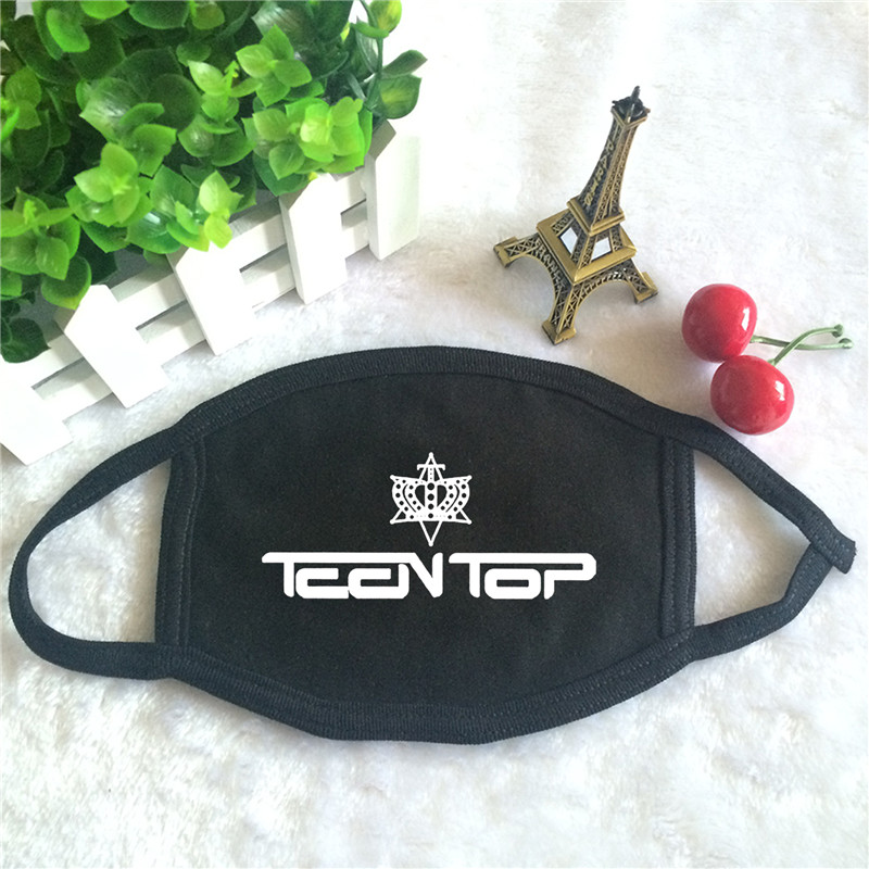 Kpop TEEN TOP Album Logo Print K-pop Fashion Face Masks Unisex Cotton Black Mouth Mask