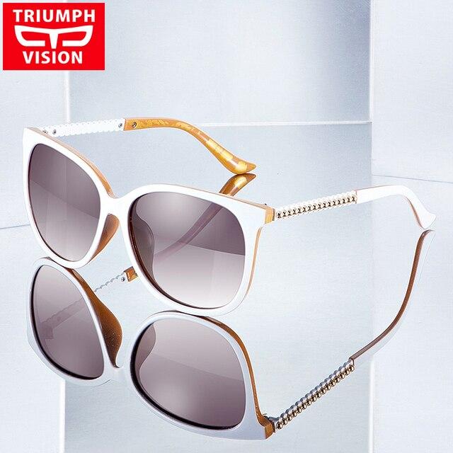 a85ffb0b29cf1 TRIUMPH VISION blanco mujeres polarizadas gafas de sol diseño de marca de  lujo señoras sombras 2017
