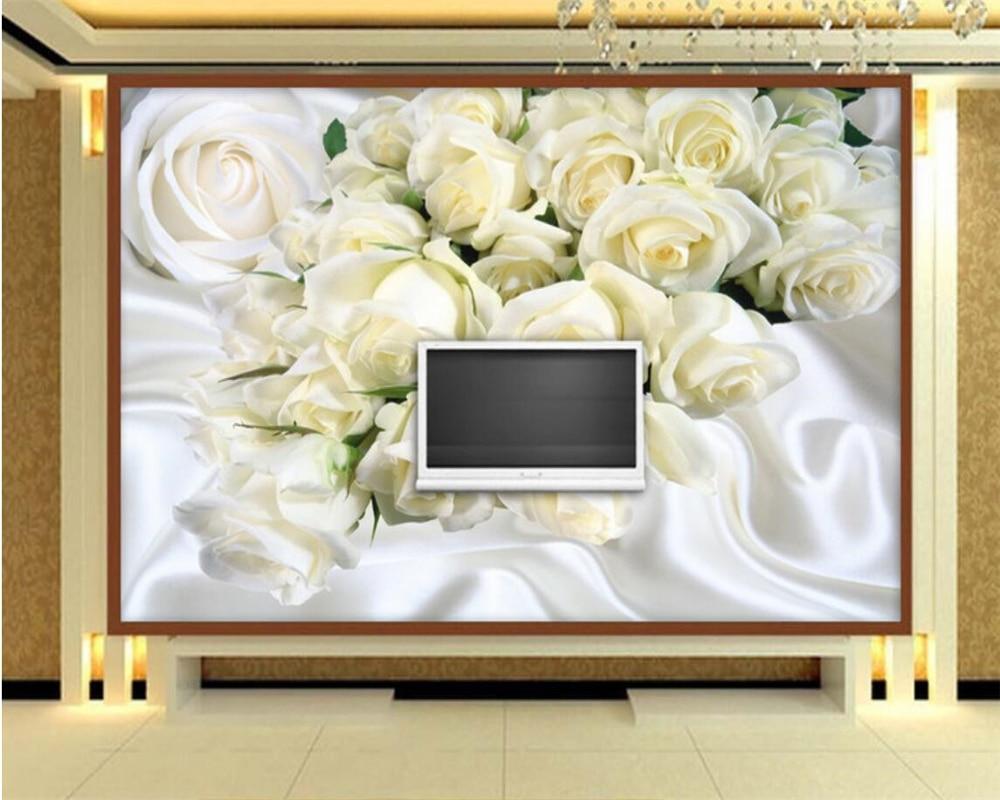 Beibehang Wallpaper Custom Made Large 3d Wallpaper White Silk Rose