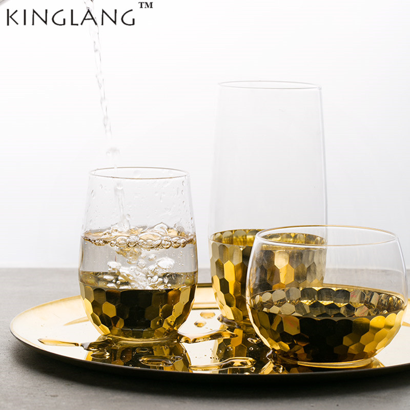 1PC KINGLANG High Quality European Style Rose Gold Glass Water Beer Cup Juice Tea Cup