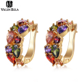 VALEN BELA NEW 10 Colors AAA CZ Gold Plated Women Wedding Hoop Earrings Fashion Party jewelry brincos Hot Sale ED2186