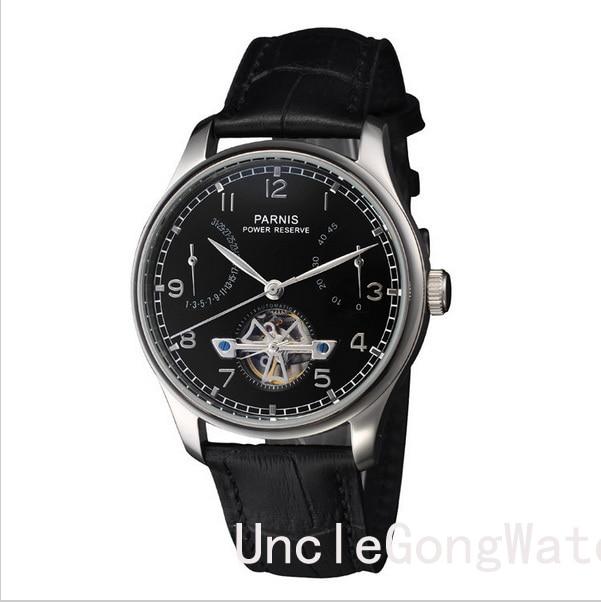 43mm Parnis Power Reserve Timepiece, Black Dial Automatic Movement Men's Watch, Black Leather Strap Clock  PA4305SB power reserve 1x