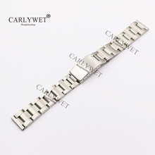 CARLYWET 17 18 19 20mm 316L Stainless Steel Silver Brushed Watch Band Strap Old Style Oyster Bracelet Straight End Screw Links men women stainless steel bracelet watch band strap straight end solid links june17