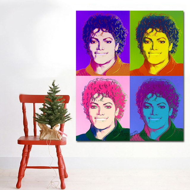 Selflessly Andy Warhol Michael Jackson Colorful Portrait Painting Wall Art Print Posters Decorative Pictures No Frame