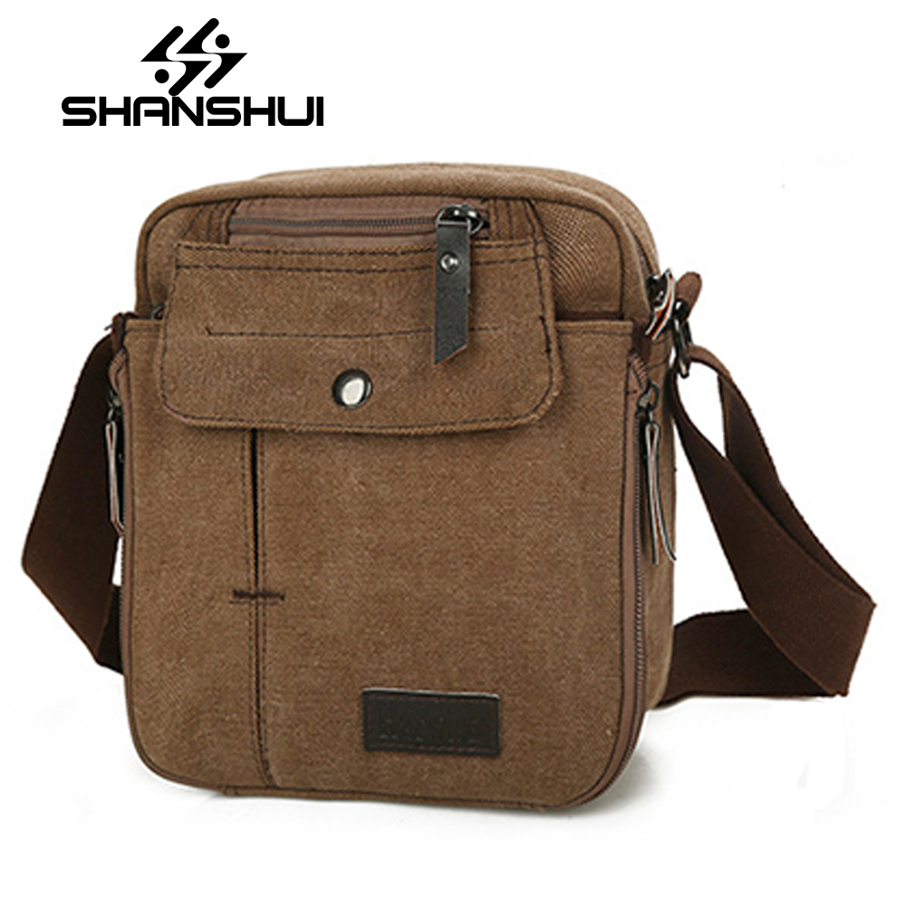 SHANSHUI 2017 New High Quality Mens Canvas Bags Casual Travel Bolas Masculina Mens Messenger Bag Crossbody Bag Shoulder Bag