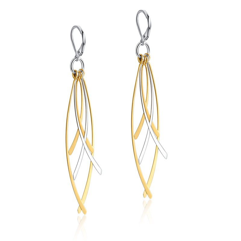 Fashion Hot Selling New Style Women Vintage Hollow-out Four Leaves Stainless Steel Dangle Earring