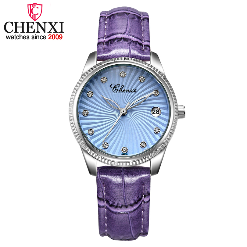 CHENXI Purple Leather Band Ladies Quartz Watch Clock for Lovers Luxury Fashion W