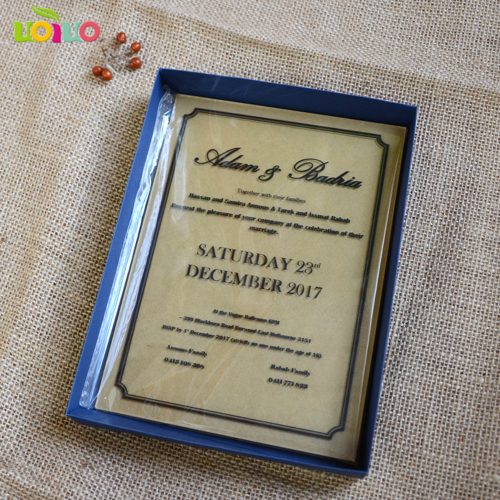 laser cut custom printing or engraved acrylic invitation card wedding invitation card 2018 in Cards Invitations from Home Garden