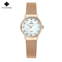 WWOOR Ultra Thin Women Quartz Watches 50m Waterproof Rose Gold Ladies Top Brand Luxury Female Wristwatch